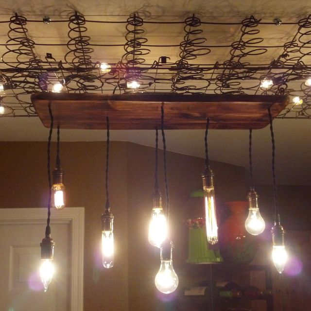 Box Spring Used In A Light Fixture With Mason Jars For My