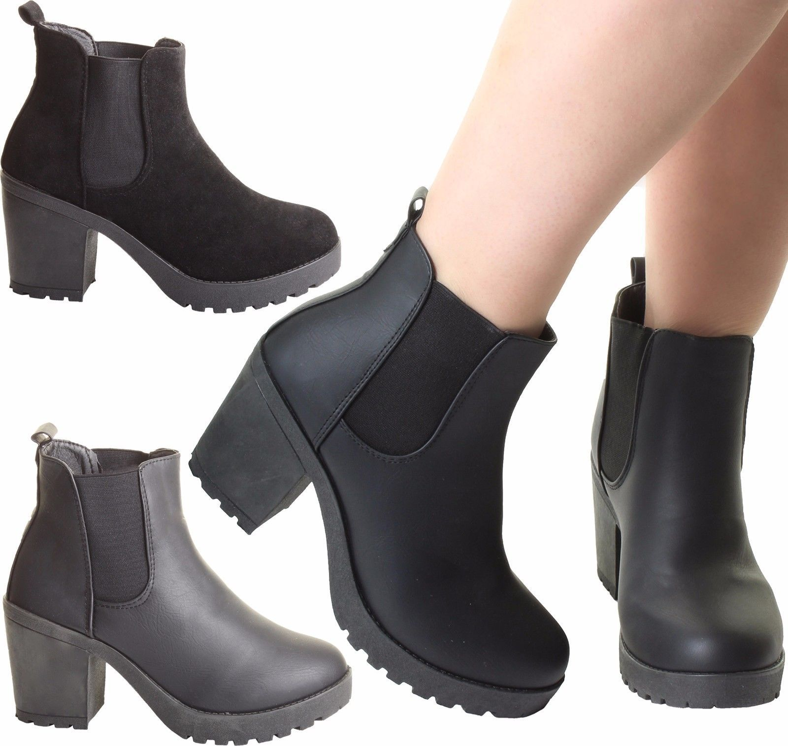 Womens Ladies Ankle Chelsea Chunky Block Heel Grip Sole Comfy Shoes Boots