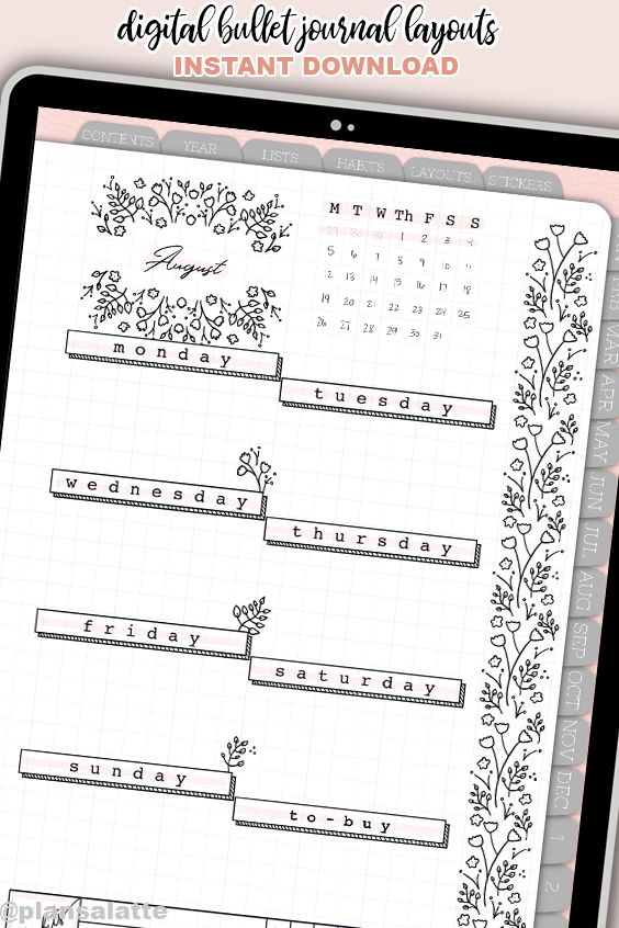 Digital Bullet Journal Inserts - Monthly Weekly Floral Layouts - Any Planner - Transparent Background PNG - Bujo Spreads - 22 layouts
