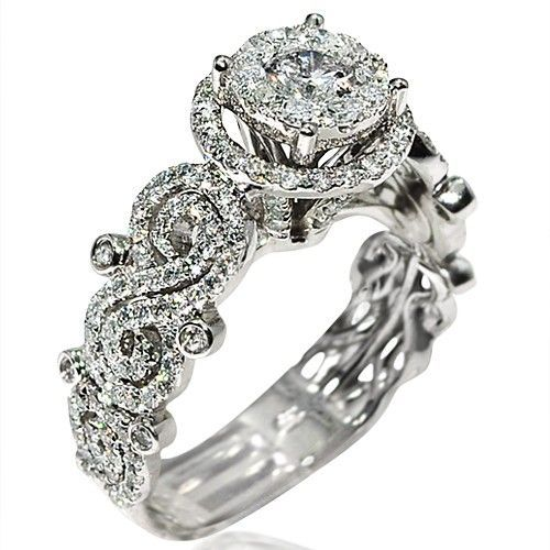 Diamond Engagement ring 1.6ct 14K White gold solitaire halo 10.5mm wide vintage.