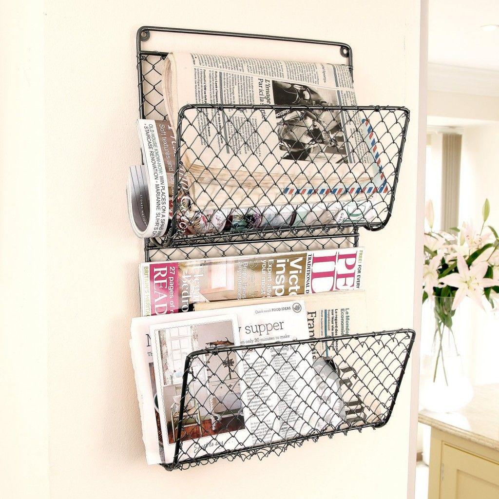 Wire Mesh Wall Mount Magazine Rack Zeitschriftenstander Wand Zeitungsstander Wand