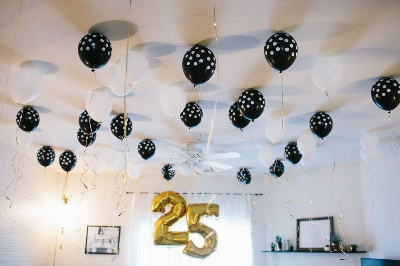 Birthday bingo black and white balloons my 25th for 25th birthday party decoration ideas