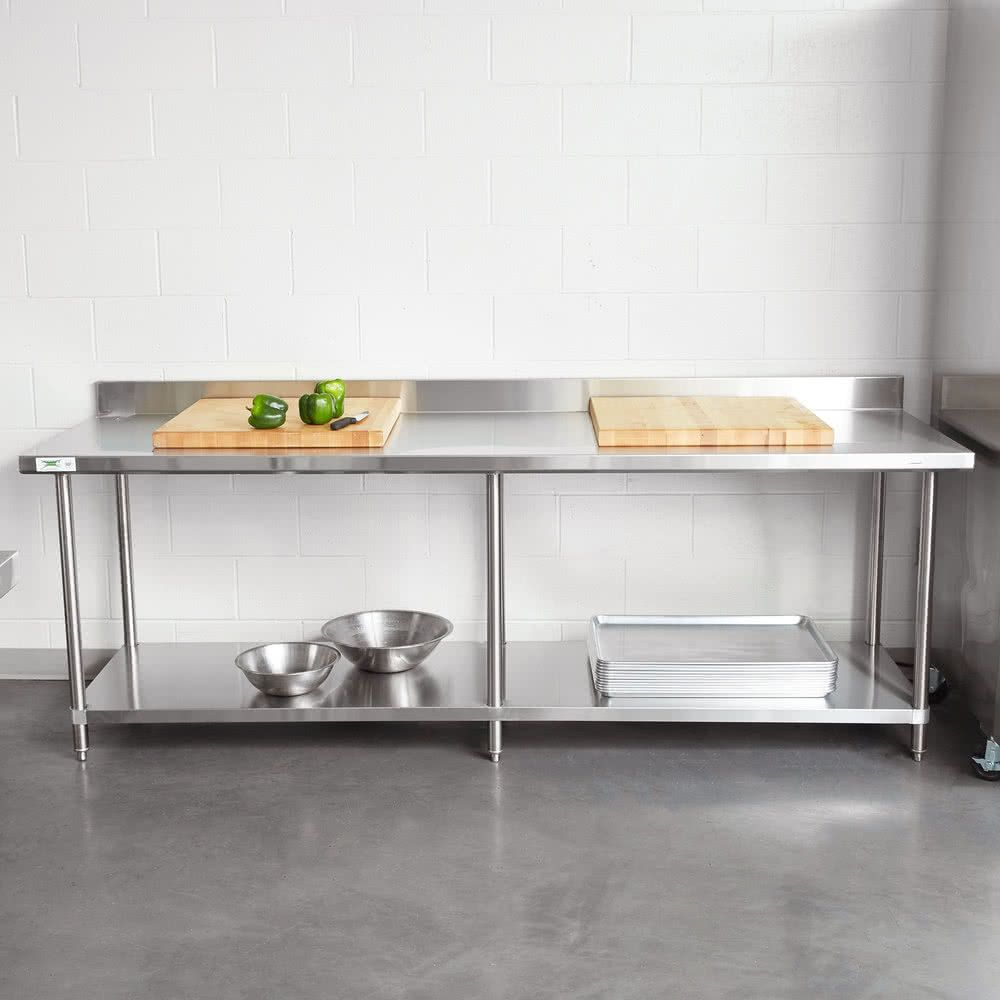 Regency 30 X 96 16 Gauge Stainless Steel Commercial Work Table With 4 Backsplash And Undershelf Stainless Steel Work Table Stainless Steel Kitchen Table Stainless Steel Countertops