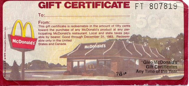 mcdonald's gift certificate 1978 | from my childhood | pinterest ...