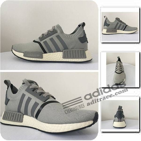 Adidas NMD_R1 Primeknit Nouvelles Chaussure Homme Grise 2
