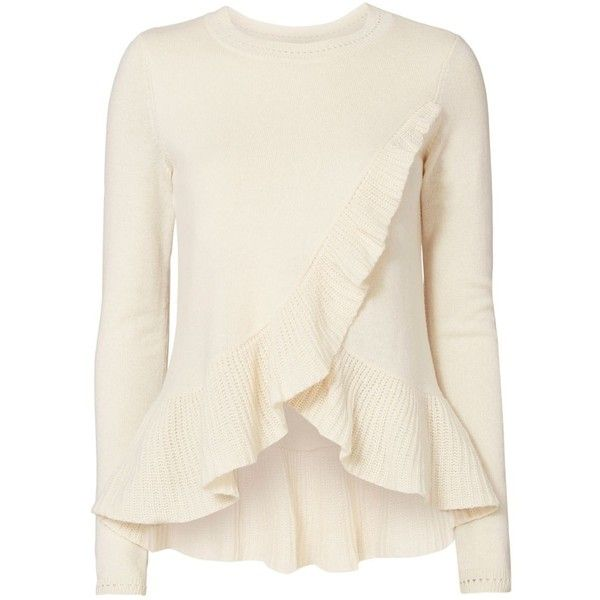 Intermix Women's Carey Ruffle Sweater ($285) ❤ liked on Polyvore featuring tops, sweaters, ivory, white wool sweater, ruffle hem top, ruffle sweater, long sleeve tops and white ruffle top