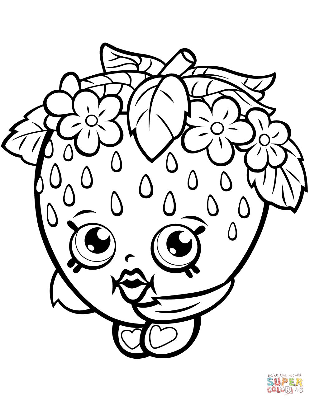Strawberry Kiss Shopkin Coloring Page Free Printable