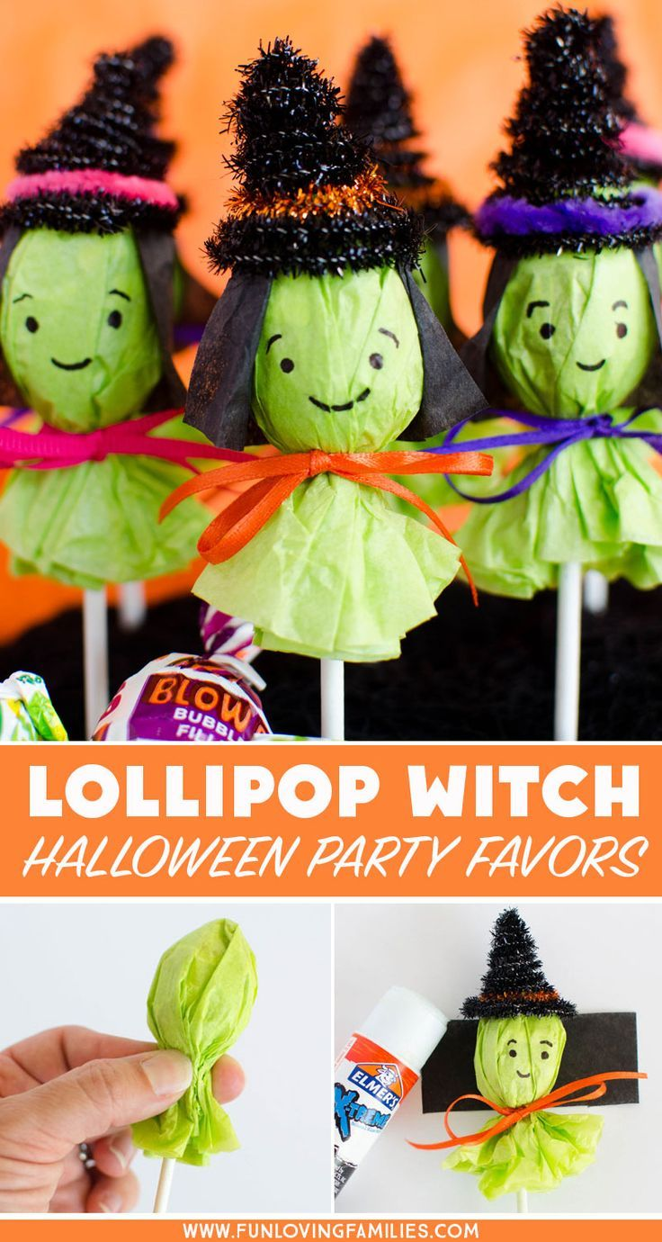 Adorable Lollipop Witches for Halloween Party Favors - Fun Loving Families #spookybasketideas