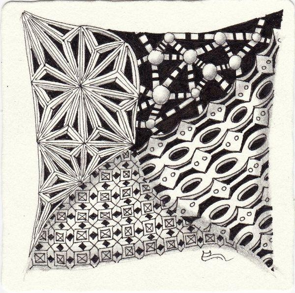 Ein Zentangle aus den Mustern Checain, Acrosstick, Connector, Hive gezeichnet von Ela Rieger, CZT
