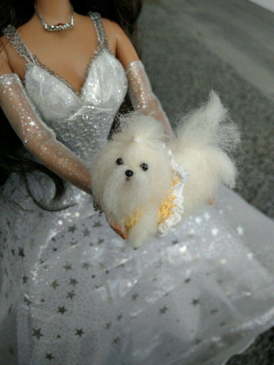 Ooak Needle Felted Miniature Maltese Puppy Dog Miniature Maltese