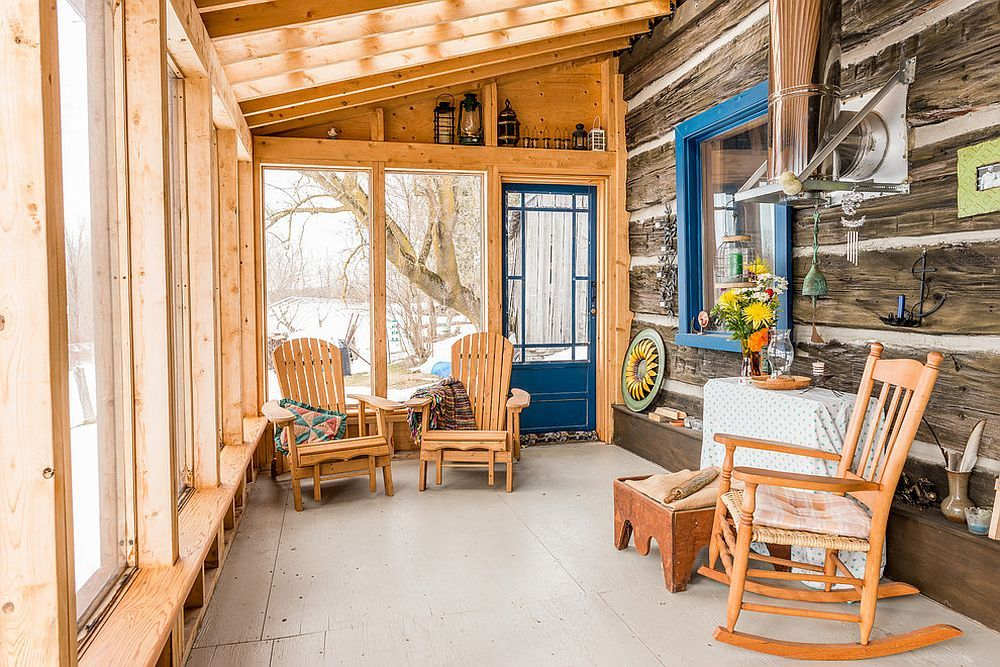 Modest sunroom decorating ideas Sunroom Dining Dash Of Blue Enlivens The Cool And Modest Rustic Sunroom Draped In Wood Design Bespoke Carpentry Joinery Pinterest Timeless Allure 30 Cozy And Creative Rustic Sunrooms Home Ideas