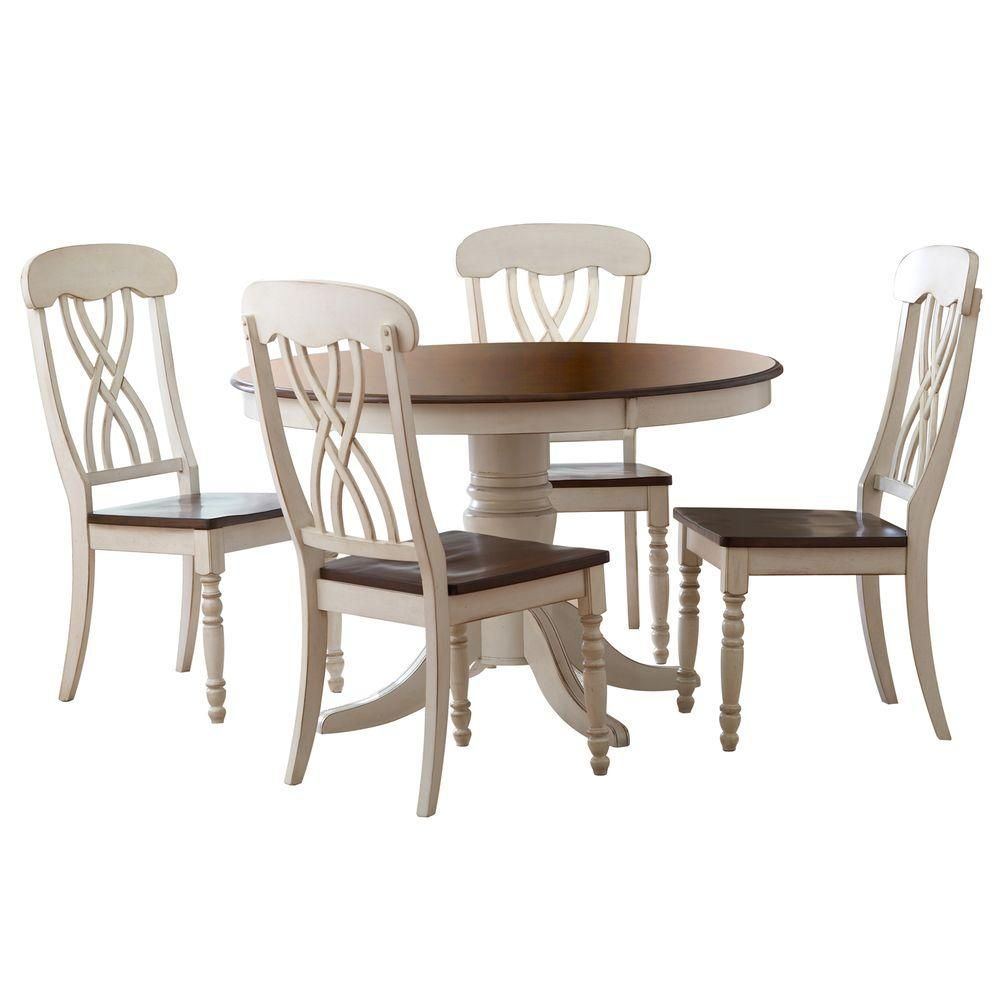 5 Piece Antique White And Cherry Dining Set Two Tone Antique White