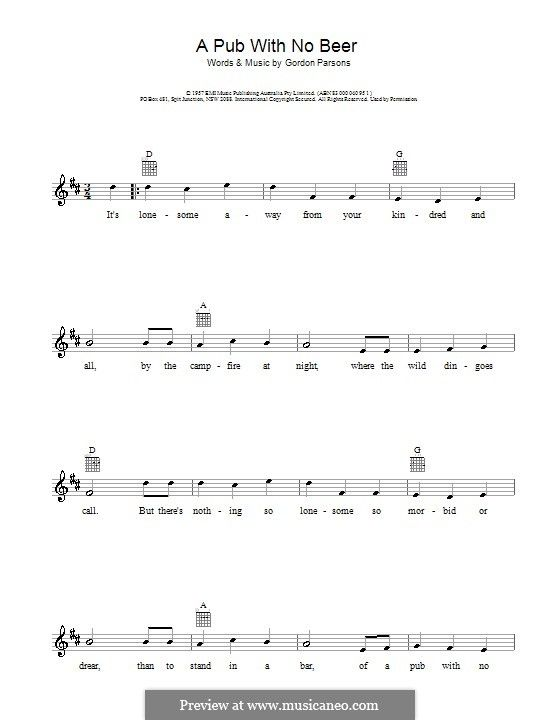 Slim Dusty: A Pub With No Beer | Music I Love (+sheet music ...
