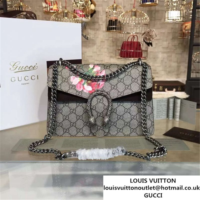 8121bc8d932 Gucci Dionysus GG Supreme Blooms Print Medium Shoulder Bag Fall Winter 2016  Collection Black Suede Beige