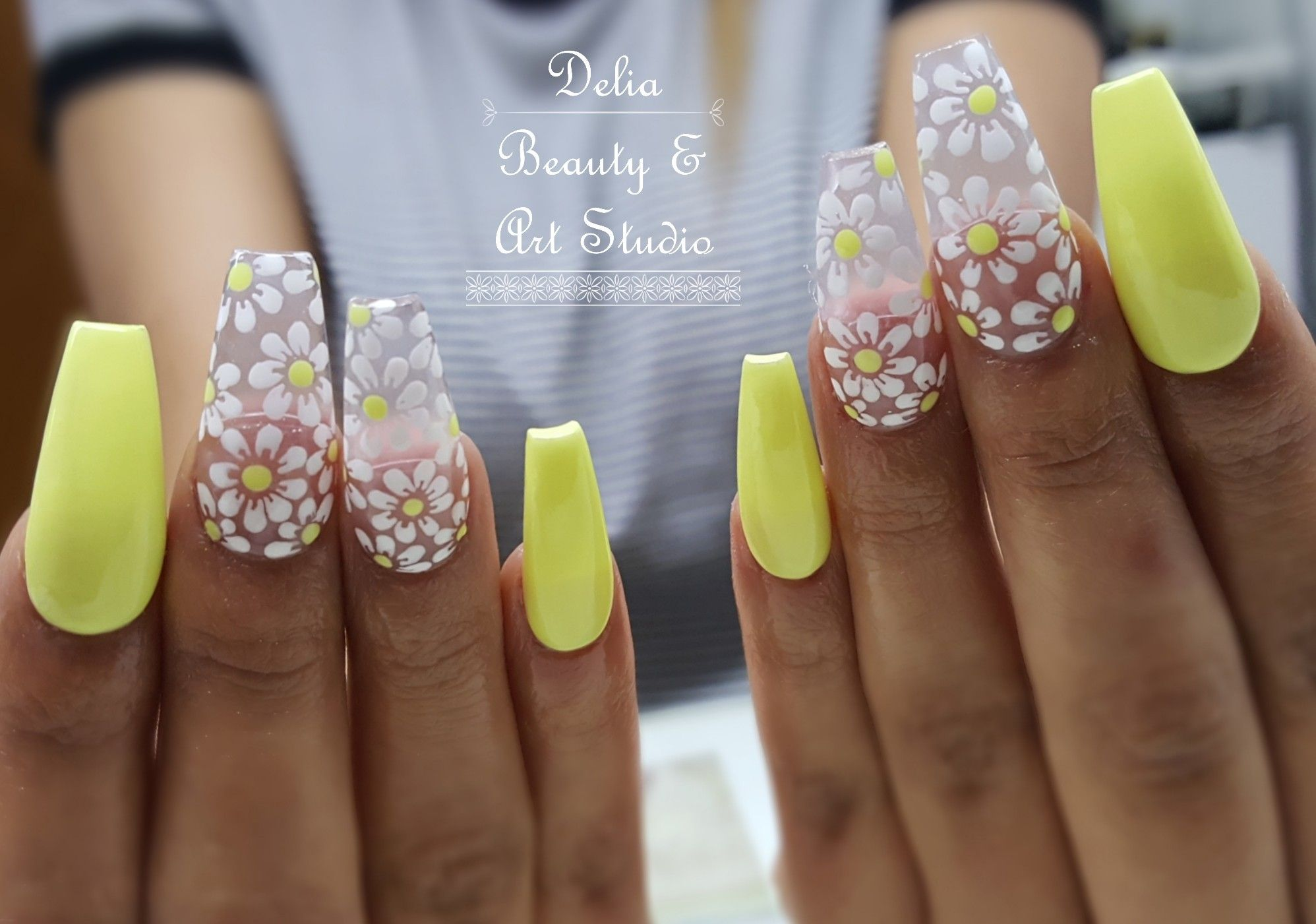 Yellow Nails Acrylics White Flower Design Free Handed Flower Nail Art Long Nails Nails Long Nails Yellow Nails