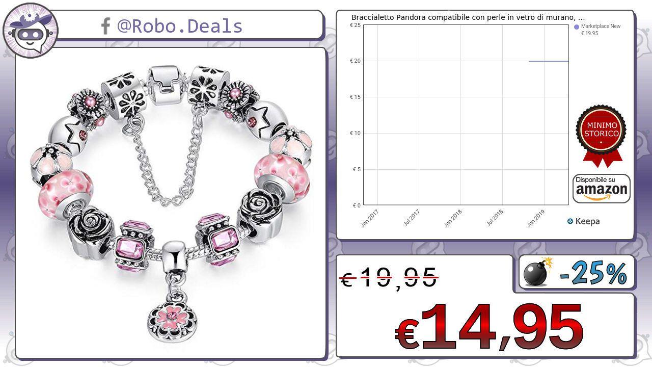 braccialetto pandora compatibile con perle in vetro di murano