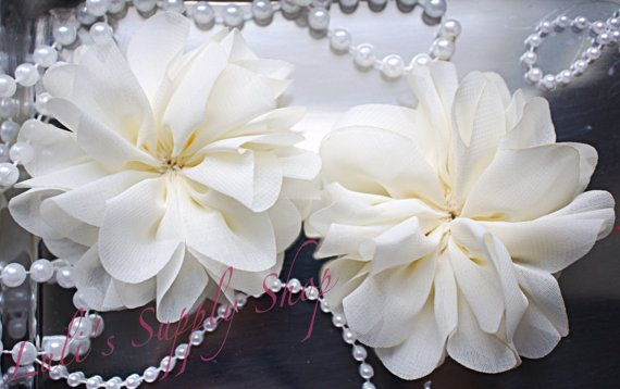 Bulk Fabric Flowers 2.5 Ballerina Flowers Set of 2 Navy Blue /& White Ruffle Unfinished Ballerina Flowers Fabric flowers for Headbands
