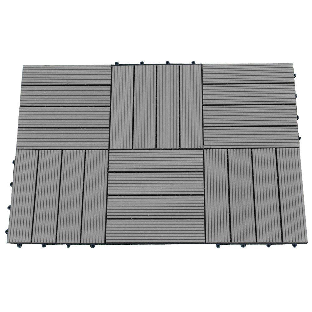 Abba Patio 12 X 12 Inch Outdoor Four Slat Wood Plastic Composite  Interlocking Decking Tile, 6 Pieces One Pack, Dark Grey