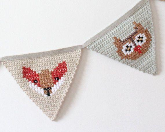 Crochet Bunting Woodland Animal Nursery by TheFoxintheAttic