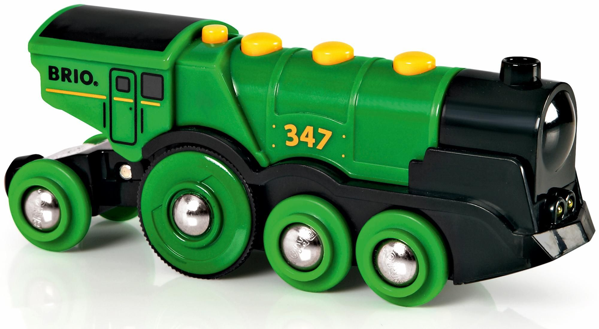 BRIO Battery Powered Big Green Action Locomotive 33593 for Wooden Train Set
