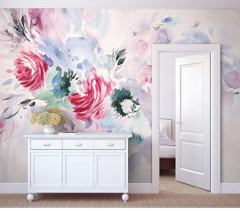 Watercolor Hand Painted Rose Wallpaper, Red Flowers and