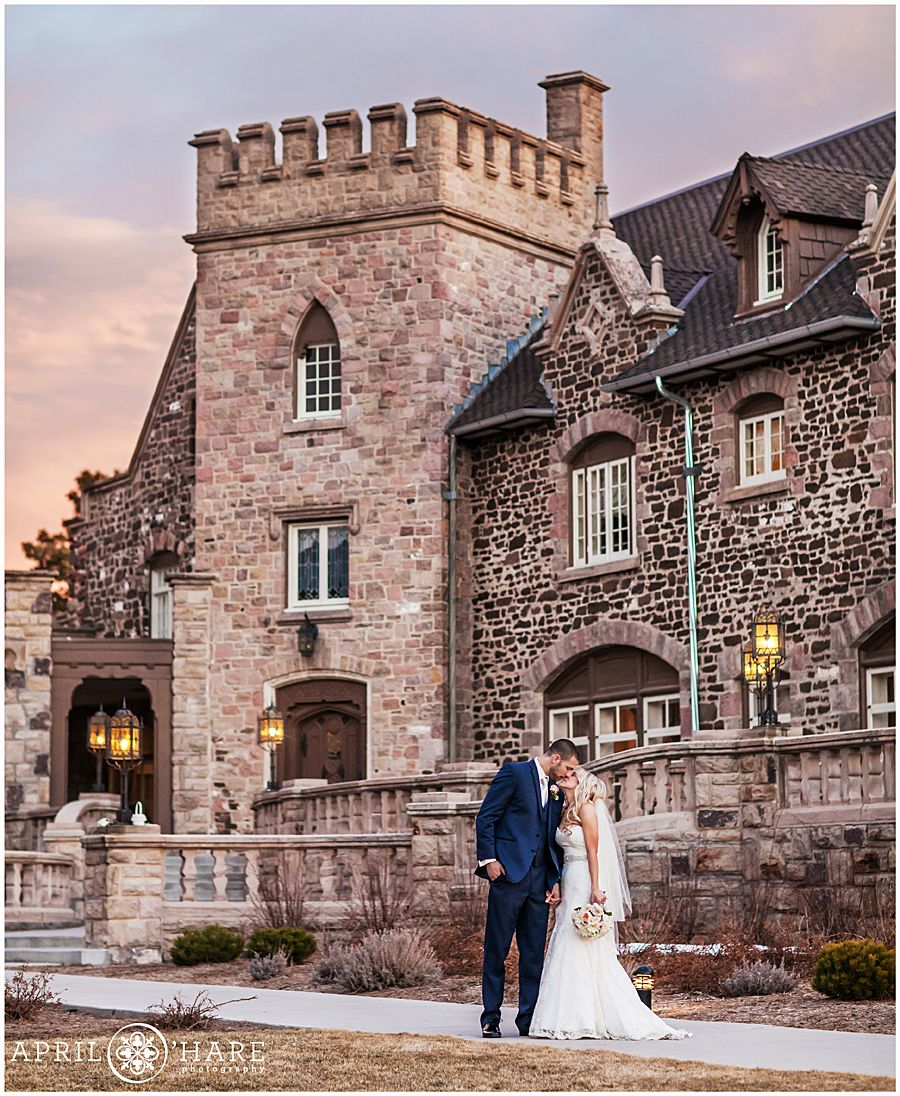 A Gorgeous Wedding Portrait At Sunset Outside Of The