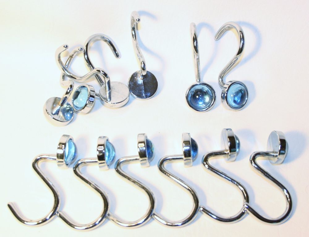 Heavy Duty Set Of 12 Light Blue Gem Jewel Silver Shower Curtain Hooks Cabochon