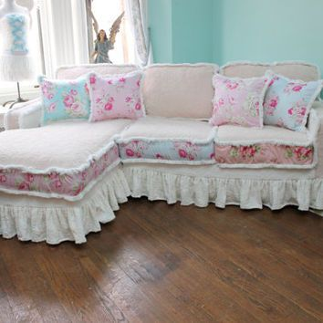 Shabby Chic Sectional Sofa Vintage Rose Chenille Bedspread Slipcover Ruffle White Custom Order New Cottage Prairie From VintageChicFurniture On Etsy