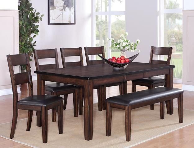 2360t 4278 6 Pc Maldives Dark Wood Finish Dining Table Set With
