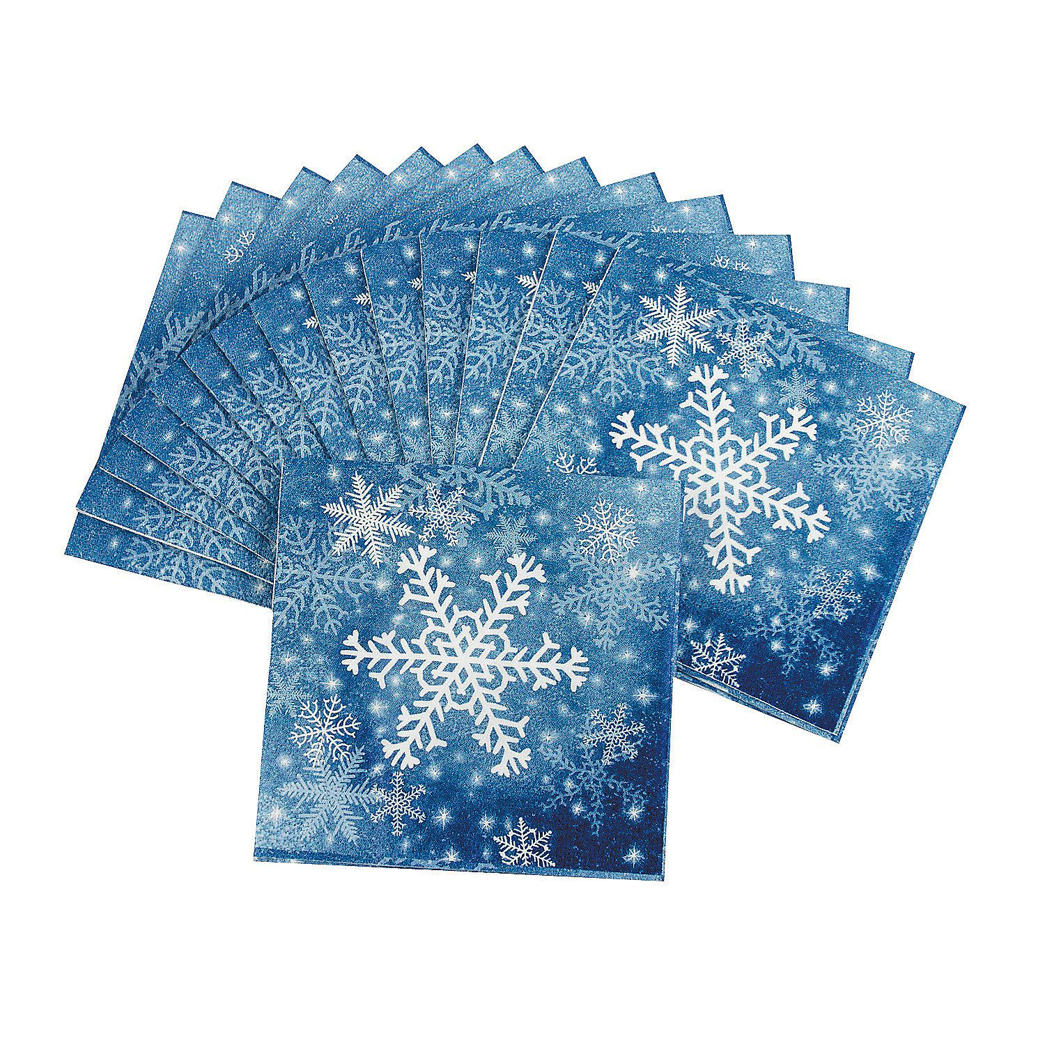 Shimmery Snowflake Christmas Party Beverage Napkins
