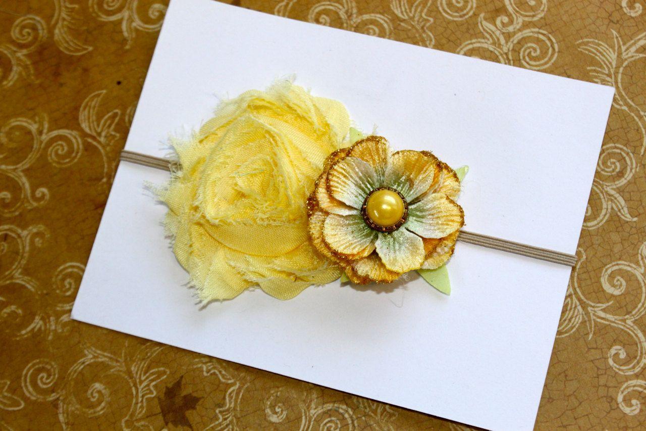 Vintage Collection Shabby Yellow Headband  by FairyFlowersandBows, $8.25