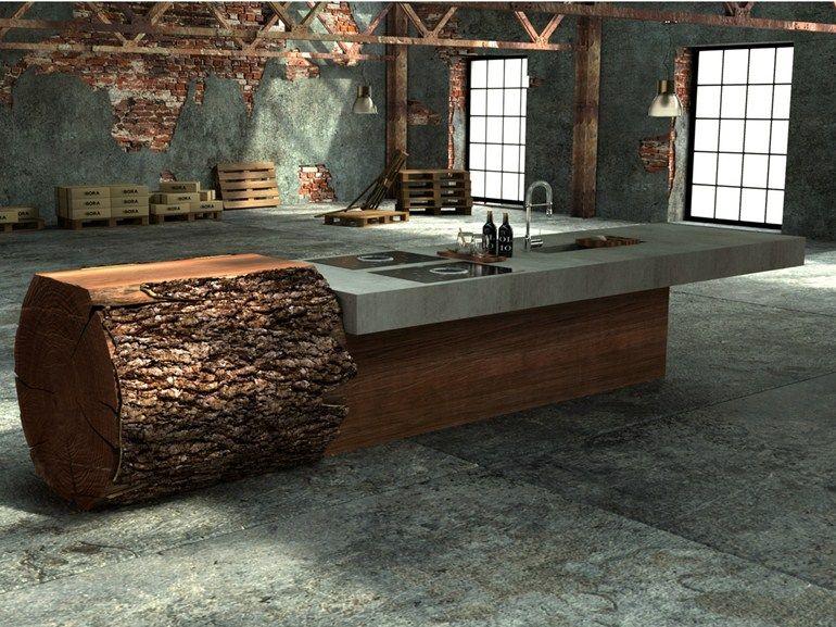 Küche aus Eichenholz und Beton BAUMSTAMMKÜCHE by WERKHAUS Design - k chenarbeitsplatten aus beton