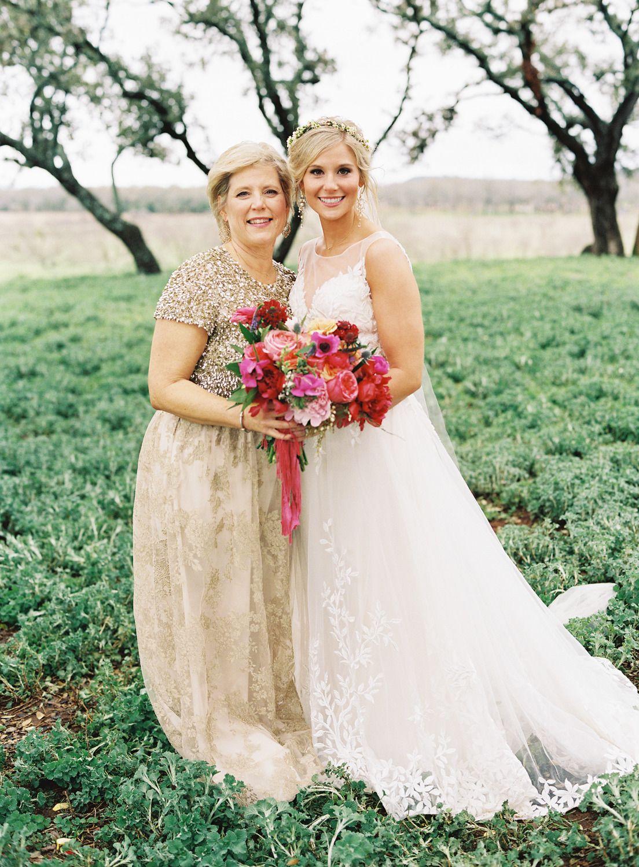 Colorful boho glam texas hill country wedding wedding dresses