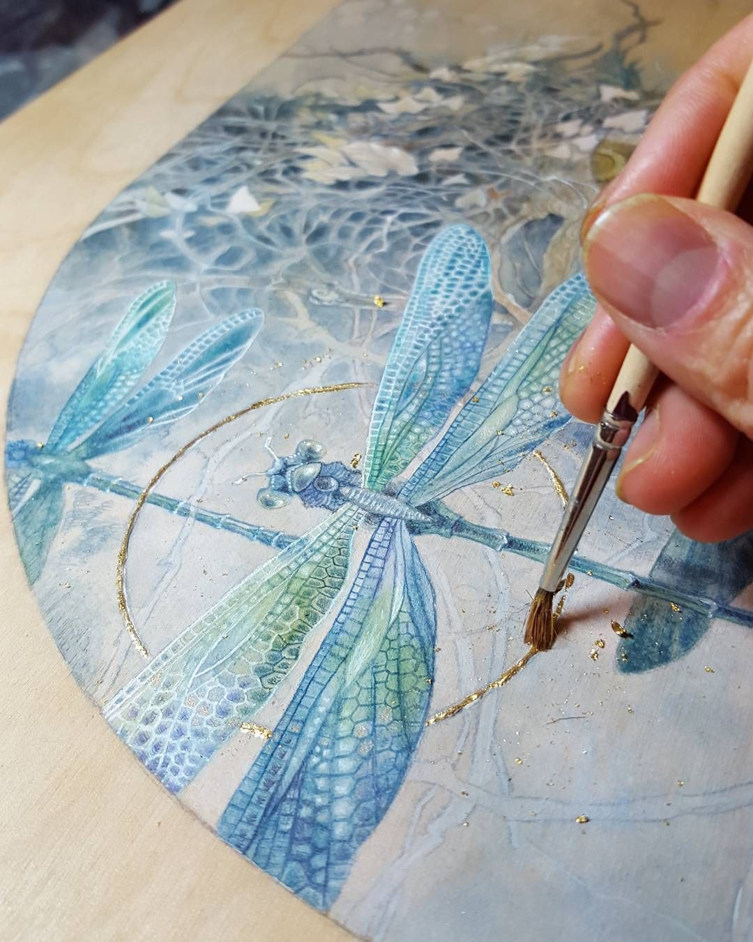Adding A Bit Of Gold Leaf Watercolor On Wood Panel Prepped With