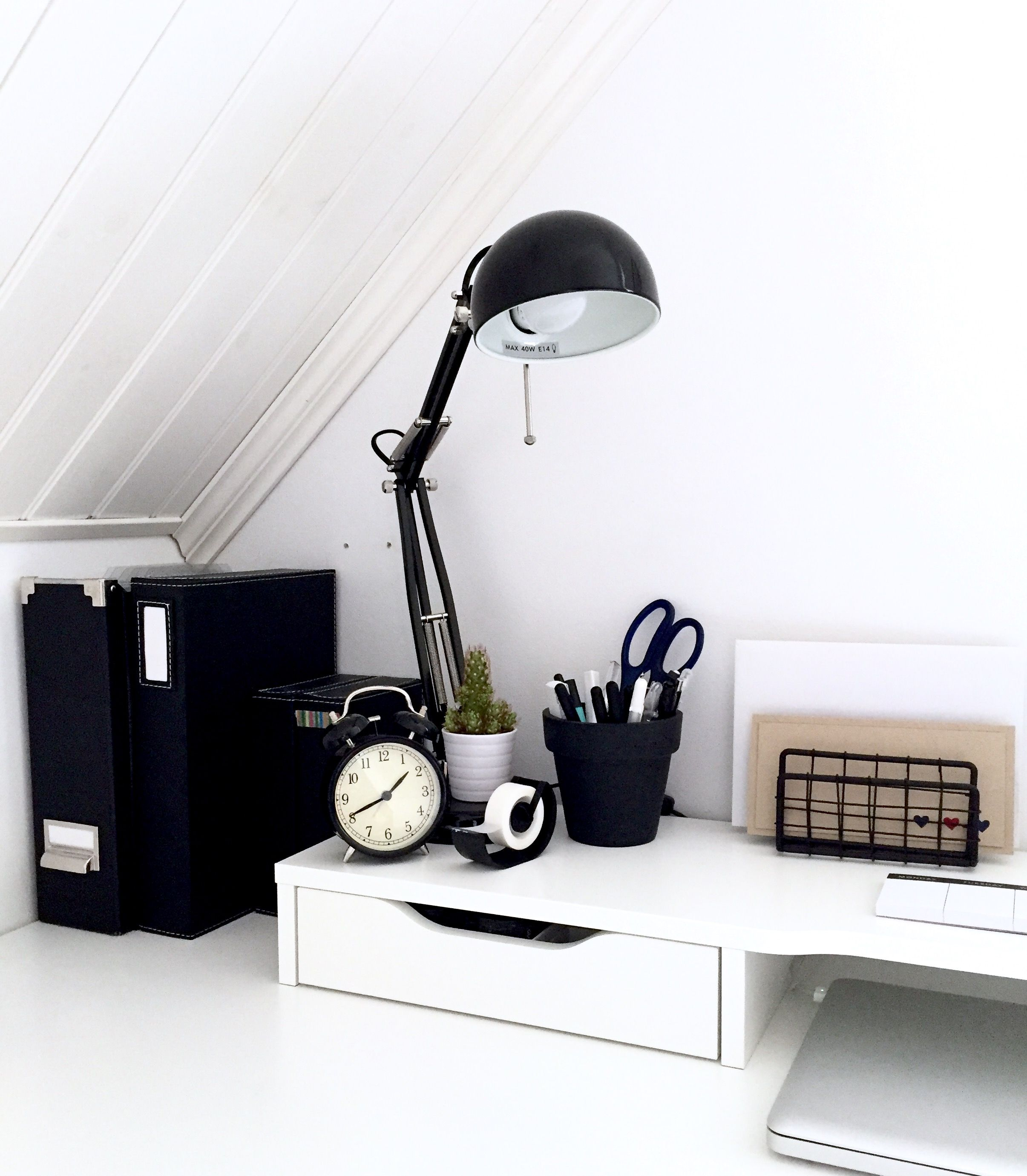 Minimalist Black And White Workspace. IKEA Alex Desk Inspiration.