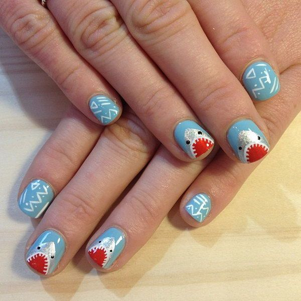 Beachy Nail Design With Sharks