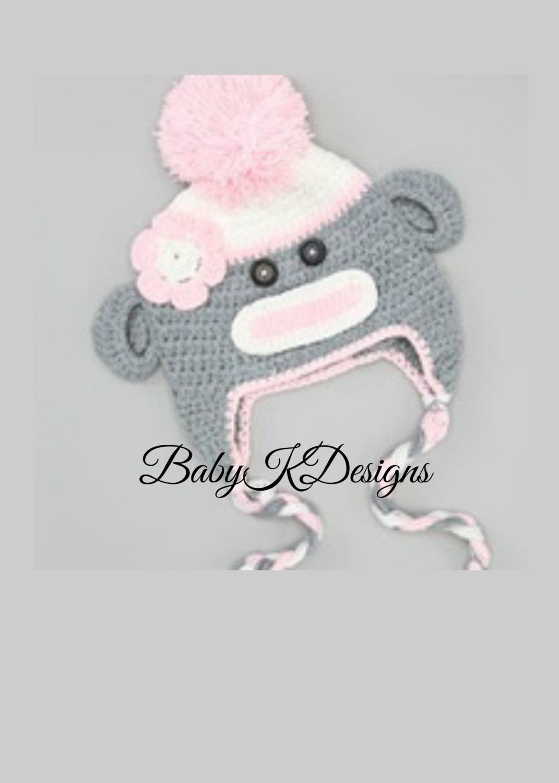 28b7c1fad8b SAVE 15% Baby Girls Crochet Pink n Gray Sock Monkey Pom Beanie hat. Knitted  Winter Beanie ear flaps Newborn Premium Knit Hat LAST ONE