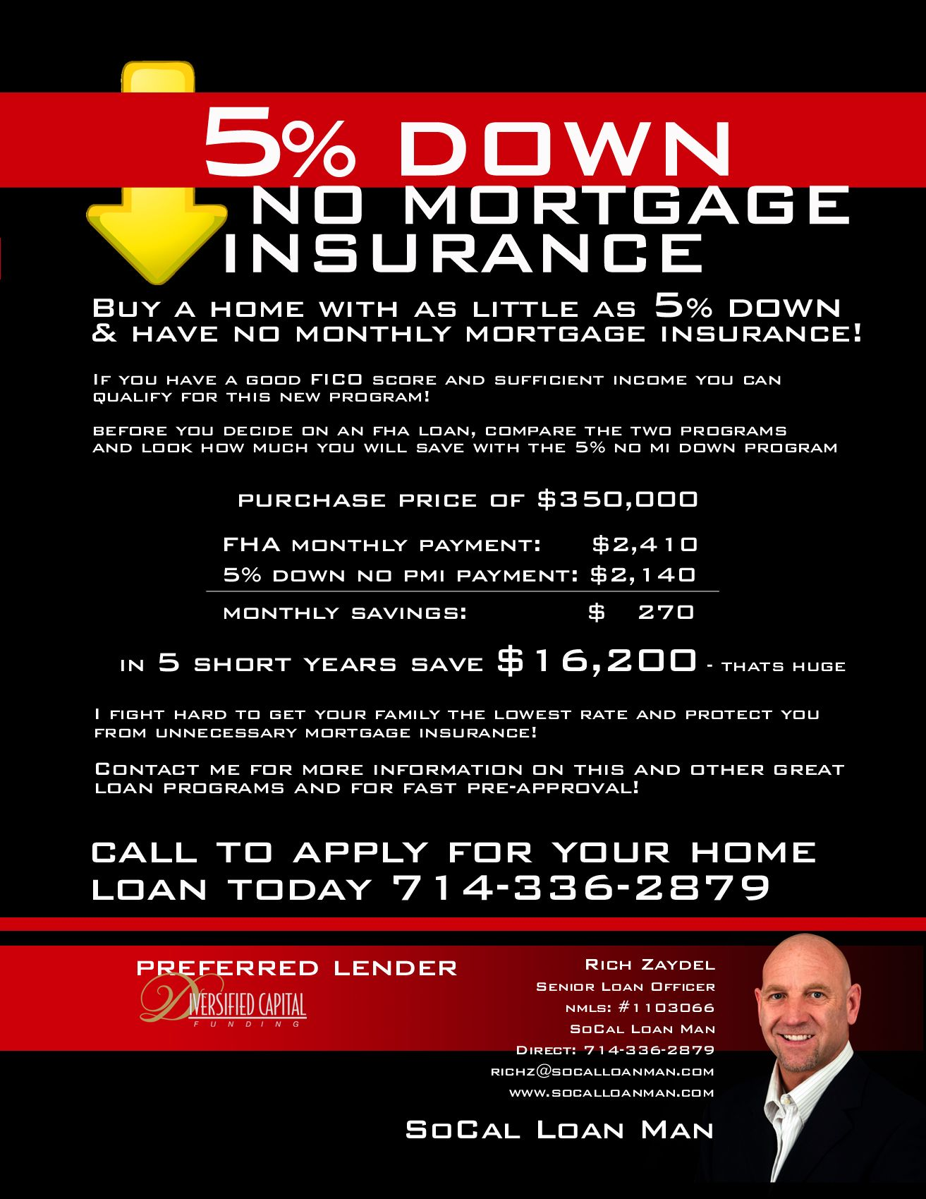 5 Down No Mortgage Insurance Home Loan Program I Will Save