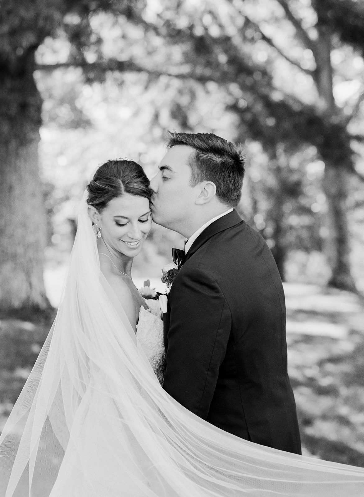 Classic black and white wedding portrait on film at white oaks barn by carrie joy photography