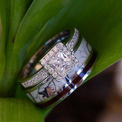 2 Pc Natural White Camo Ring Koa Wood And Silver Engagement Ring Wedding  Band