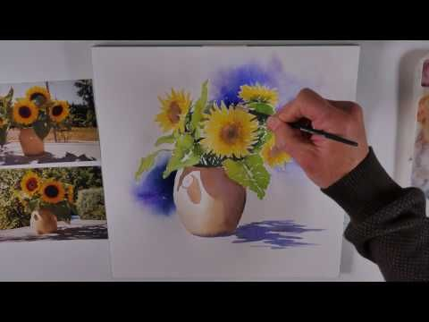 Tuto Aquarelle Bouquet De Tournesols Watercolor Tutorial Of