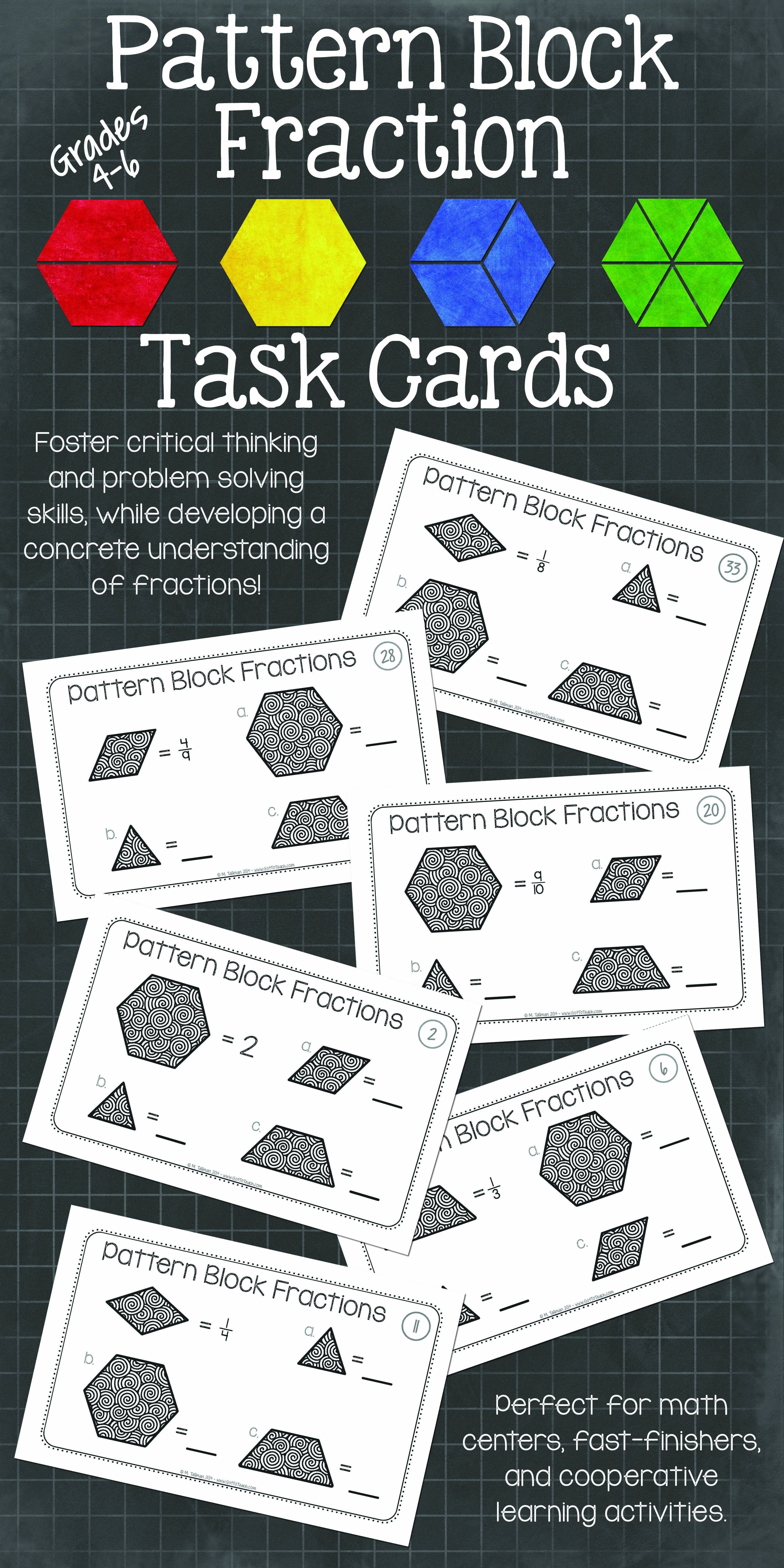 Pattern Block Fraction Task Cards Math Centers | Teaching fractions ...