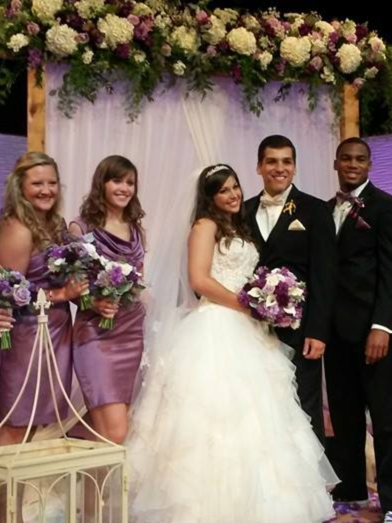 Matronmaid of honor and best man with bride and groom bartadiaz