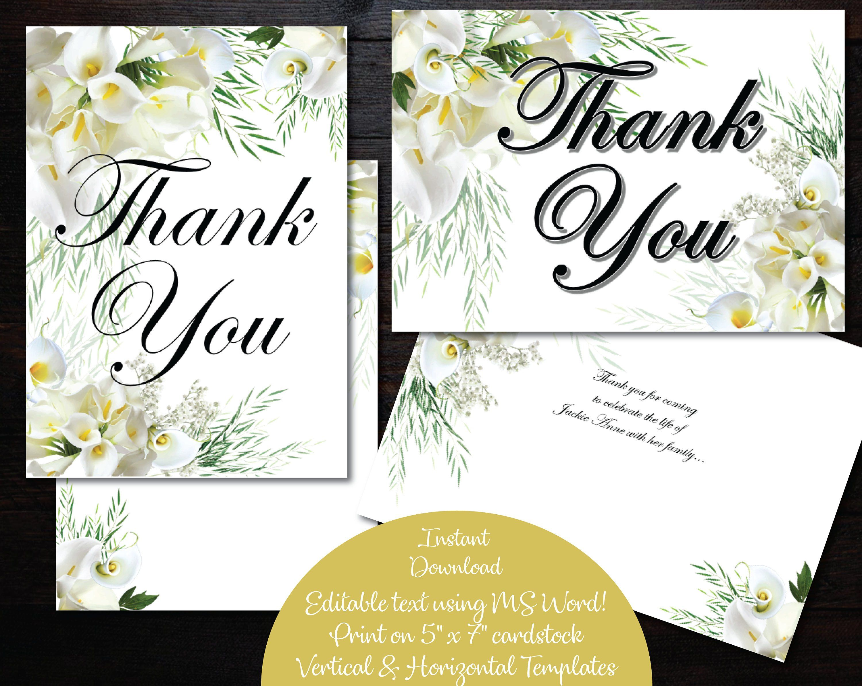 Thank You Card Printable Card Digital File Editable Text Calla Lily Https Etsy Me 2qsjey0 Papergoods Officiant Card Cards Personalized Wedding Gifts