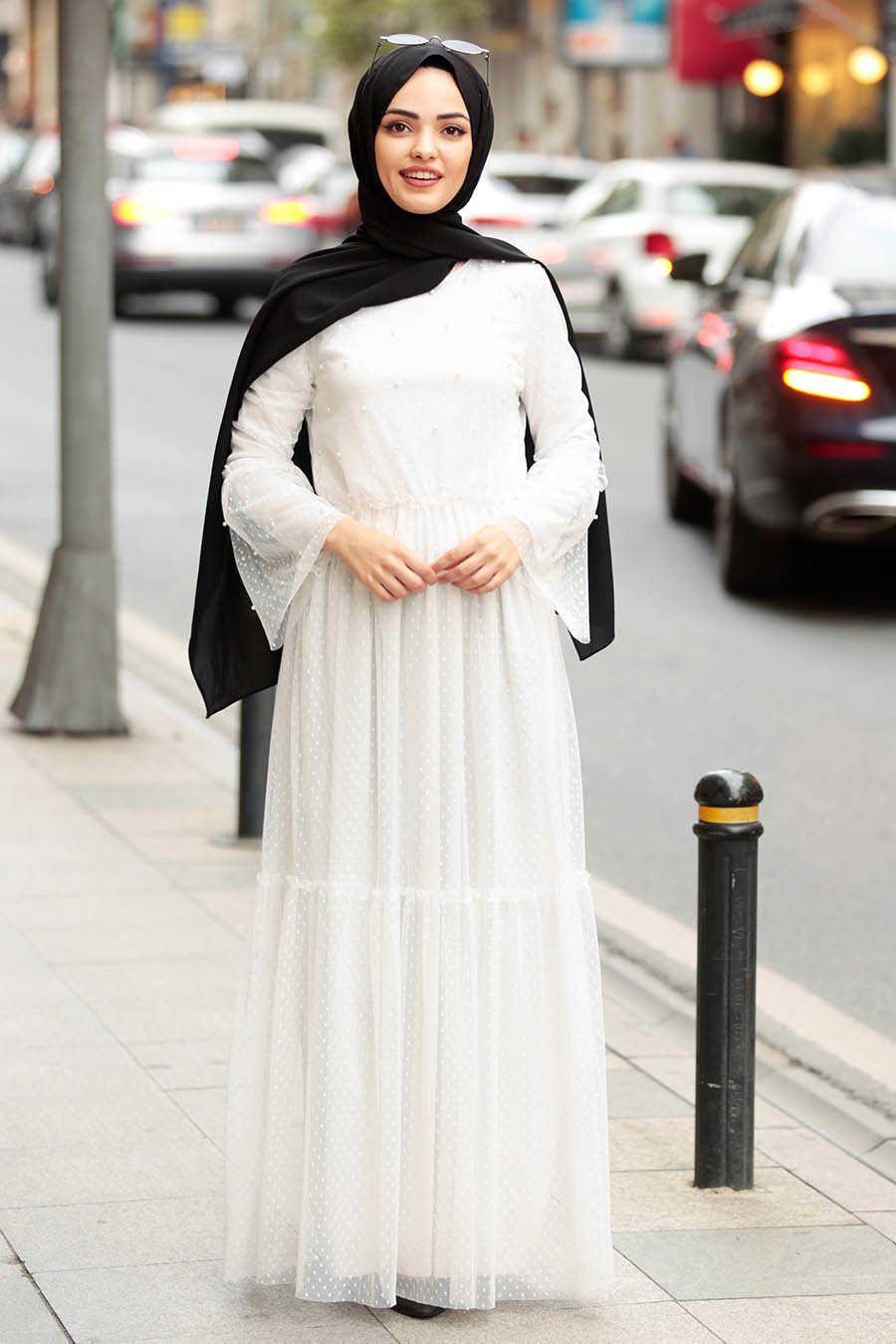 042ee0020985 Neva Style - Ecru Hijab Dress 100412E   Fashion   Dresses, Hijab ...