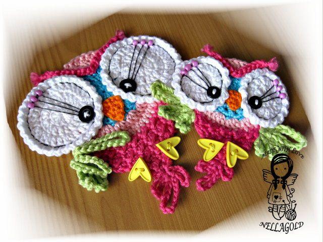 Cute Little Amigurumi Owl : Crochet pattern applique cute little owl von nellagoldscrocheting