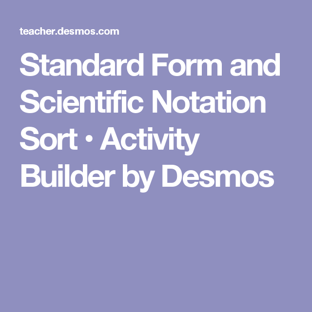 Standard Form And Scientific Notation Sort Activity Builder By