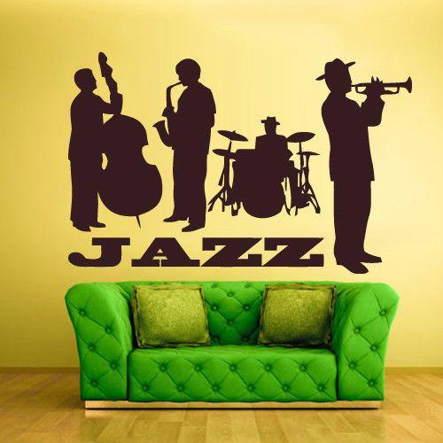 Wall Vinyl Sticker Decals Decor Art Bedroom Jazz Band Instruments ...