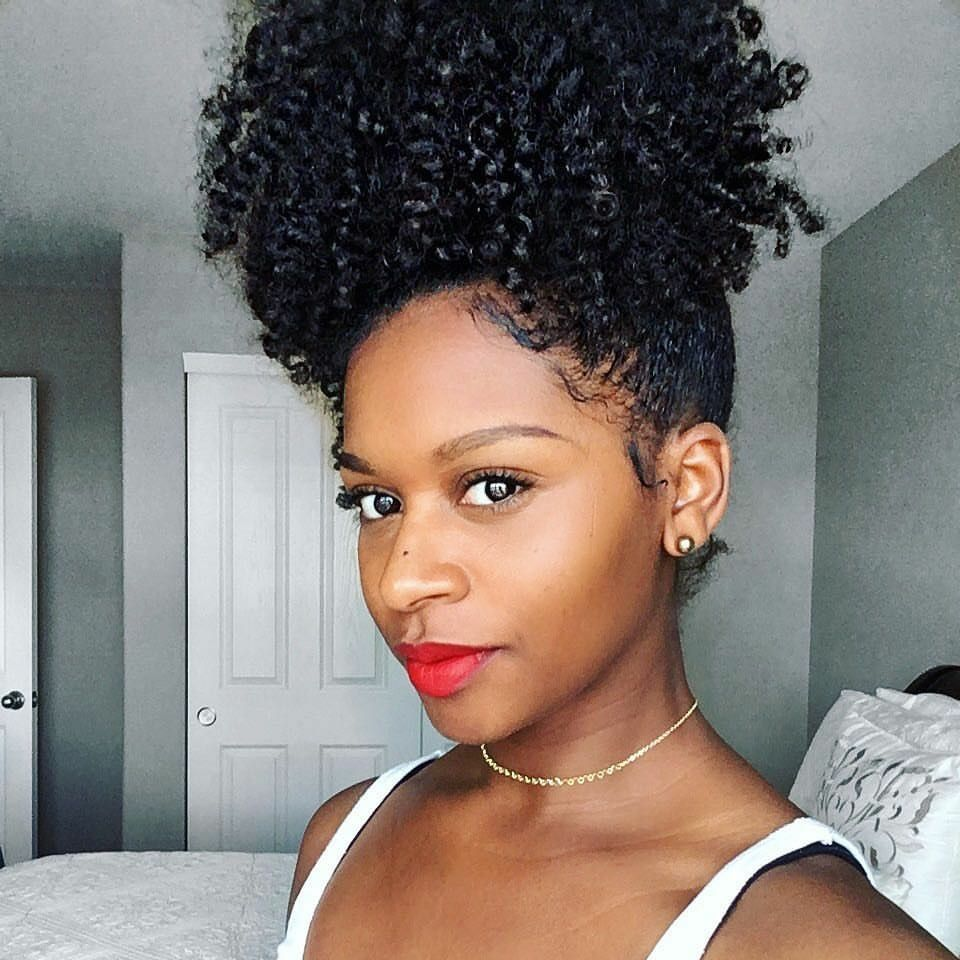 high big puff naturally curly hair red lips | updos & braids