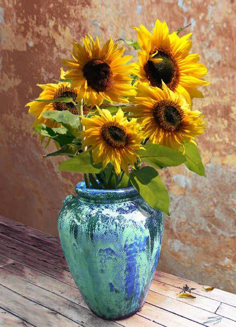 Sunflowers In Bluegreen Vase By I M Spadecaller Oil Painting Flowers Sunflower Painting Sunflower Art